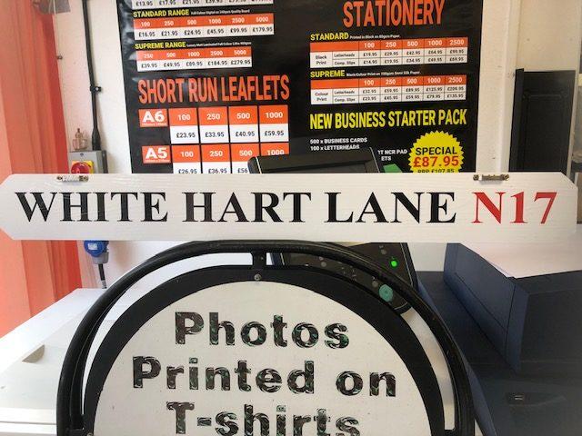 White hart lane vinyl on wood